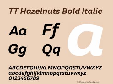 TT Hazelnuts Bold Italic Version 1.000; ttfautohint (v1.5) Font Sample
