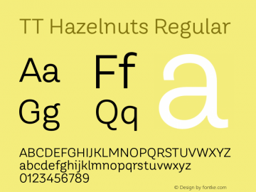TT Hazelnuts Regular Version 1.000 Font Sample