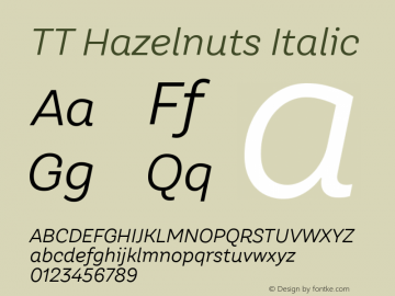 TT Hazelnuts Italic Version 1.000; ttfautohint (v1.5) Font Sample