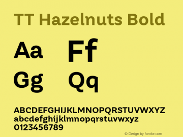 TT Hazelnuts Bold Version 1.000 Font Sample