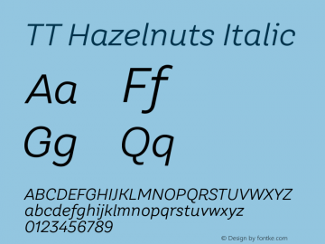 TT Hazelnuts Italic Version 1.000 Font Sample