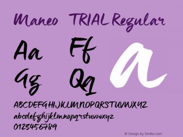 Maneo_TRIAL Regular Version 1.000 Font Sample