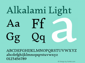 Alkalami Light 0.924 Font Sample