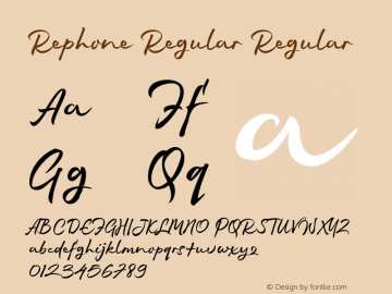 Rephone Regular Regular Version 1.000 http://majestype.com Font Sample
