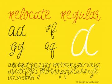 Relocate Regular Version 1.0 Font Sample