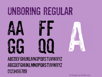 Unboring Regular Version 001.000 Font Sample
