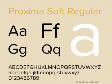 Proxima Soft Regular Version 1.001 Font Sample