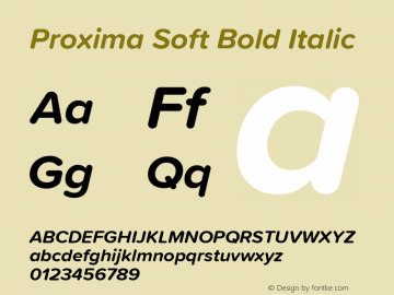 Proxima Soft Bold Italic Version 1.001 Font Sample