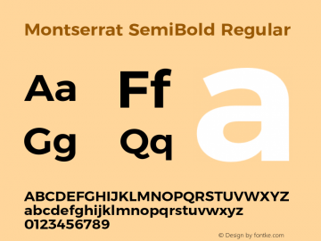 Montserrat SemiBold Regular Version 6.000;PS 006.000;hotconv 1.0.88;makeotf.lib2.5.64775 Font Sample