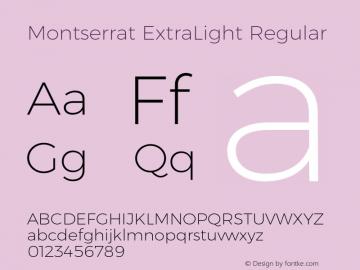 Montserrat ExtraLight Regular Version 6.000;PS 006.000;hotconv 1.0.88;makeotf.lib2.5.64775 Font Sample