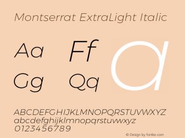 Montserrat ExtraLight Italic Version 6.000;PS 006.000;hotconv 1.0.88;makeotf.lib2.5.64775 Font Sample