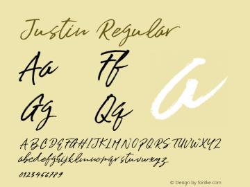 Justin Regular Version 1.000 Font Sample