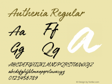 Authenia Regular Version 1.000;PS 001.000;hotconv 1.0.88;makeotf.lib2.5.64775 Font Sample
