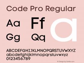 Code Pro Regular Version 1.003;PS 001.003;hotconv 1.0.88;makeotf.lib2.5.64775 Font Sample