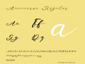 Anniversa Regular Version 1.000 Font Sample