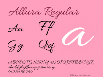 Allura Regular Version 1.004; ttfautohint (v1.4.1) Font Sample