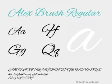Alex Brush Regular Version 1.003; ttfautohint (v1.4.1) Font Sample