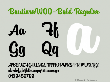 BoutieraW00-Bold Regular Version 1.00 Font Sample
