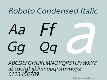Roboto Condensed Italic Version 2.00 October 14, 2016 Font Sample