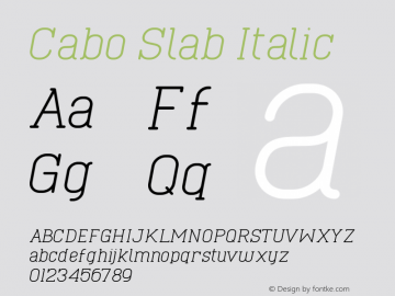 Cabo Slab Italic Version 1.001;Fontself Maker 1.1.0 Font Sample