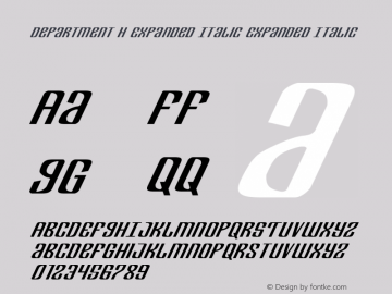 Department H Expanded Italic Expanded Italic Version 2.0; 2017 Font Sample