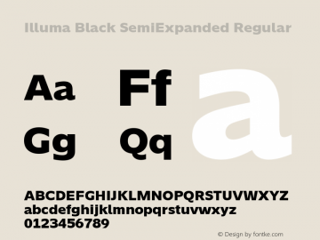 Illuma Black SemiExpanded Regular Version 1.012;PS 001.012;hotconv 1.0.88;makeotf.lib2.5.64775; ttfautohint (v1.5.65-e2d9) Font Sample