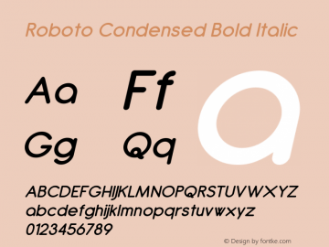 Roboto Condensed Bold Italic Version 2.00 June 3, 2016 Font Sample