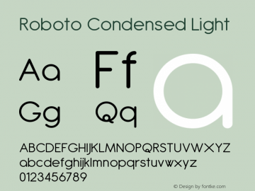 Roboto Condensed Light Version 2.00 June 3, 2016 Font Sample