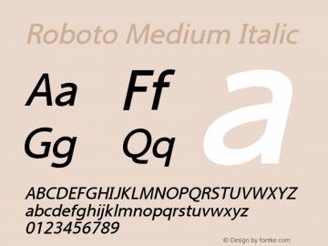 Roboto Medium Italic Version 2.00 June 3, 2016 Font Sample