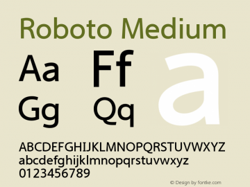 Roboto Medium Version 2.00 June 3, 2016 Font Sample