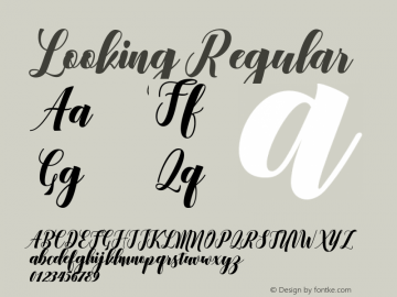 Looking Regular Version 1.000 Font Sample