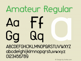 Amateur Regular Version 1.000;PS 001.000;hotconv 1.0.88;makeotf.lib2.5.64775 Font Sample