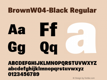 BrownW04-Black Regular Version 1.00 Font Sample