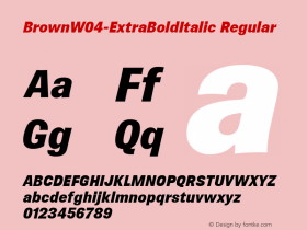 BrownW04-ExtraBoldItalic Regular Version 1.00 Font Sample