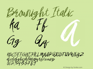 Brownight Italic Version 1.000图片样张