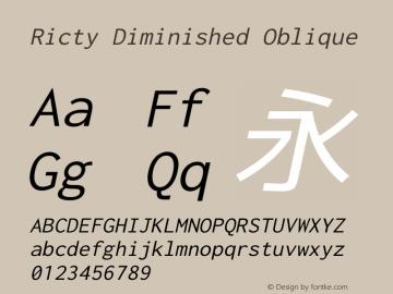 Ricty Diminished Oblique Version 4.1.0 Font Sample