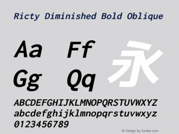 Ricty Diminished Bold Oblique Version 4.1.0 Font Sample