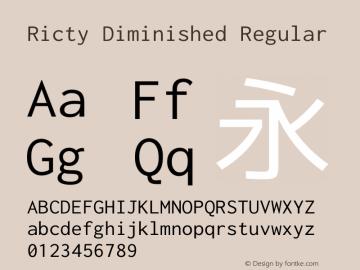 Ricty Diminished Regular Version 4.1.0 Font Sample