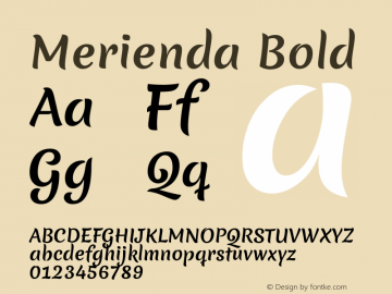 Merienda Bold Version 1.001; ttfautohint (v1.4.1) Font Sample