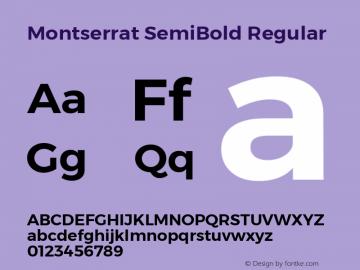 Montserrat SemiBold Regular Version 6.002 Font Sample