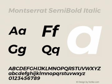 Montserrat SemiBold Italic Version 6.002 Font Sample