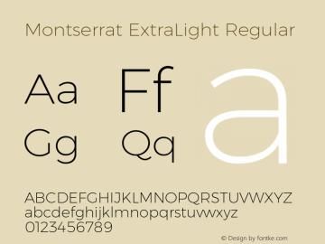 Montserrat ExtraLight Regular Version 6.002 Font Sample