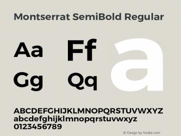Montserrat SemiBold Regular Version 6.002;PS 006.002;hotconv 1.0.88;makeotf.lib2.5.64775 Font Sample