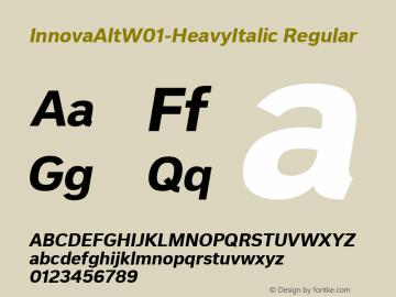 InnovaAltW01-HeavyItalic Regular Version 1.50 Font Sample
