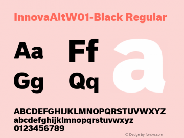 InnovaAltW01-Black Regular Version 1.50 Font Sample