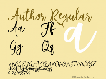 Author Regular Version 1 Font Sample