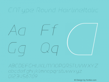 CNType Round HairlineItalic Version 1.0 Font Sample