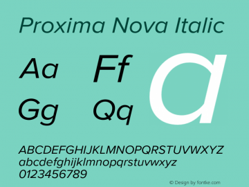 Proxima Nova Italic Version 2.015;PS 002.015;hotconv 1.0.70;makeotf.lib2.5.58329 Font Sample