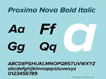 Proxima Nova Bold Italic Version 2.015;PS 002.015;hotconv 1.0.70;makeotf.lib2.5.58329 Font Sample