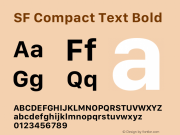SF Compact Text Bold Version 1.00 May 6, 2016, initial release Font Sample